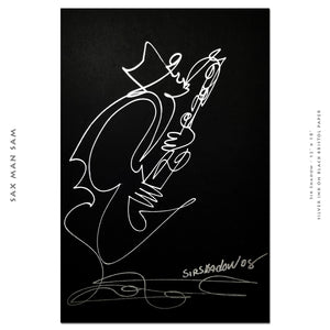 "SAX MAN SAM - Lovers Jazz Band - 12"" x 18"" Original One Line Drawing"