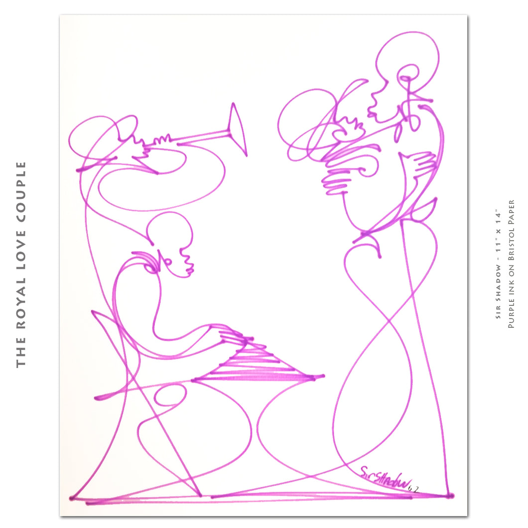 THE ROYAL LOVE COUPLE - Lovers / Band - Original One Line Drawing #181025