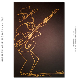 "GORGEOUS GOLD GEORGE ON GUITAR - 12"" x 18"" Original One Line Drawing"