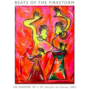 BEATS OF THE FIRESTORM - Drummers - Original Painting