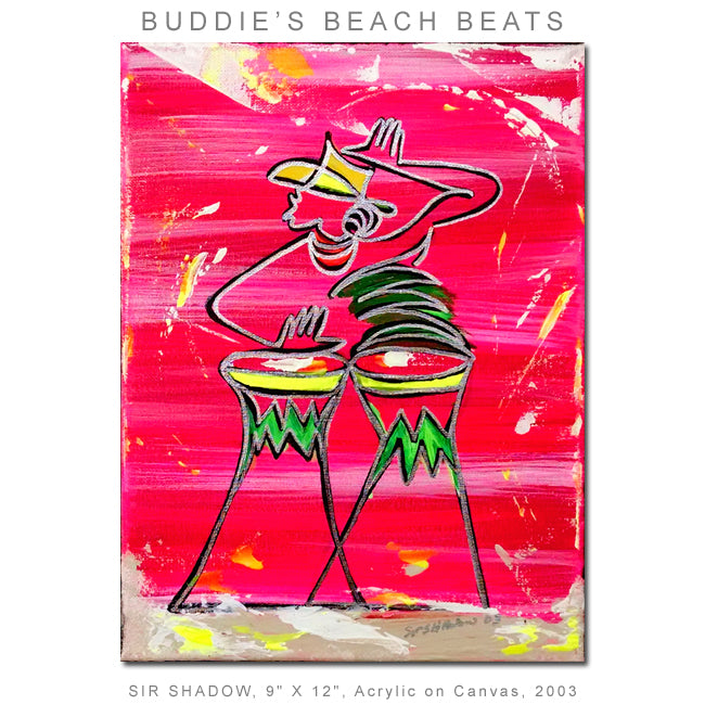 BUDDY'S BEACH BEATS - Bongo Drummer - Original Painting