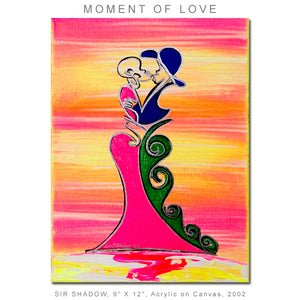 MOMENT OF LOVE - Lovers - Original Painting on Stretched Canvas