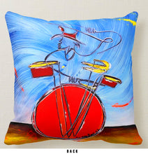"Load image into Gallery viewer, Saturday Afternoon Sax & Donnie's Dazzling Drums - Double-Sided 16"" x 16"" Pillow"