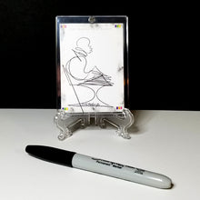 Load image into Gallery viewer, TUESDAY TUNES - Original One Line Art Card - Acrylic Encased w/ Table Top Easel