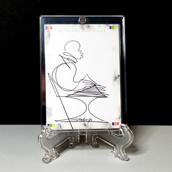 TUESDAY TUNES - Original One Line Art Card - Acrylic Encased w/ Table Top Easel