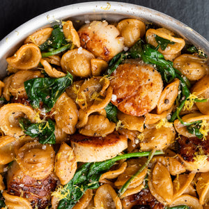 Scallops, Spinach and Orecchiette drizzled with Eureka Lemon Crush