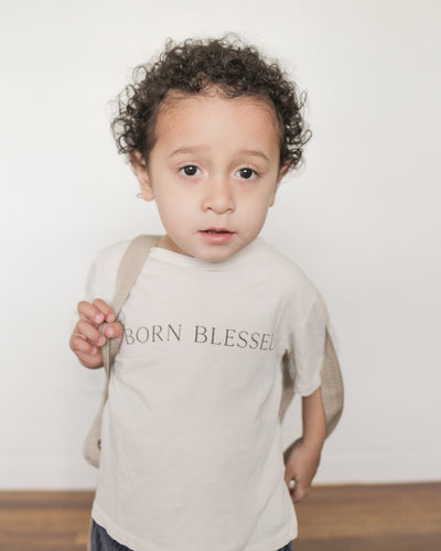 Born Blessed Kid's Tee in Bone