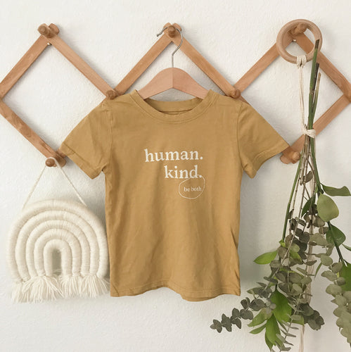 Human Kind Kid's Tee in Mustard