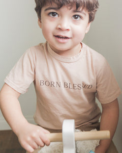 Born Blessed Kid's Tee in Sand