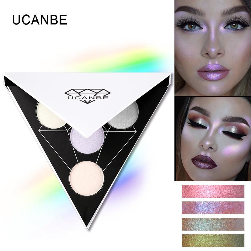 Triangle Glitter Eyeshadow Palette Holographic Shade Eye Lip Face Makeup Shimmer Shine Powder Nude Eye Shadow