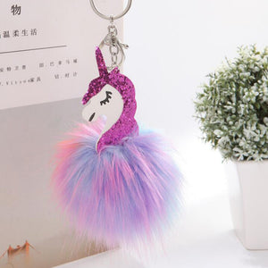Opshineqo Unicorn pompom Keychain Colorful Fake Rabbit fur ball Fluffy licorne Key Chain Horse porte clef Bag Car Keyring