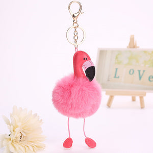 Cute Pink Fluffy Pompom Flamingo Keychain