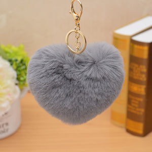 ZOEBR Car Keyring Snow Fur Key Holder Rabbit Fur Ball Key Chain Black Cat Head Doll Keychain Animal Pompom Pendant Charm Jewelry