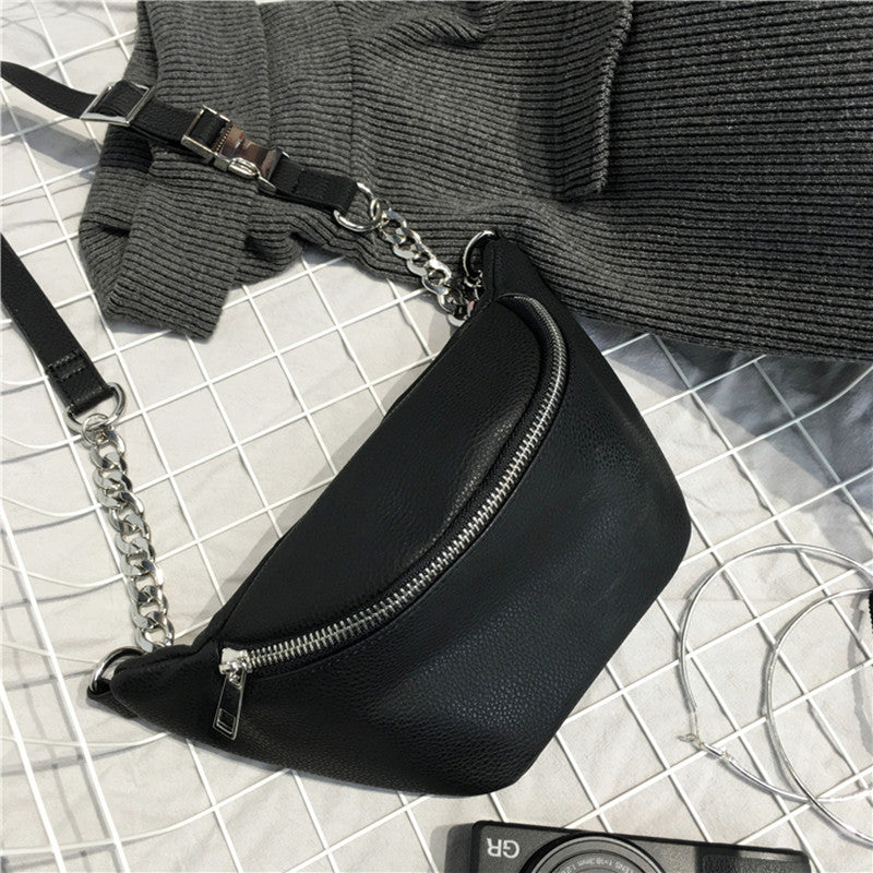 Fashion Chain PU Lychee Leather Fanny Pack Waist Bag Bananka Waterproof Antitheft Women Walking Shopping Belly Band belt bag