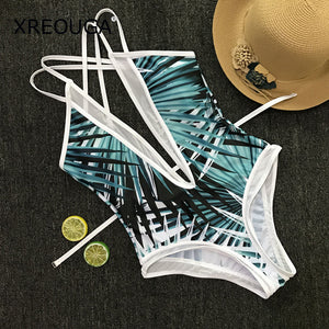 XREOUGA Bamboo leaves Print Women Padded One Piece Swimsuit Deep V Hollow Backless Lace Bodysuit See Through Waistband Bikini