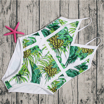 2018 New Green Leaf Swimsuit Sexy One Piece Swimwear Women Swimsuit Backless Pineapple Bathing Suit Swimming Suit Monokini