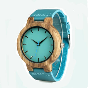 Blue Leather Band and Wooden Watch