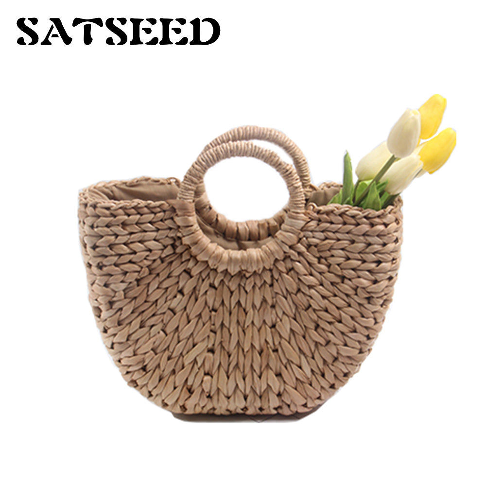 2018 Straw Bag For Women  Hangbag Beach Rattan Bag Round   Simple Solid Woven Bag