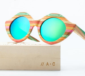 Wood and Bamboo Colorful Sunglasses