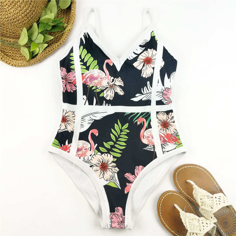 One Piece Swimsuit Flamingo Print Swimwear