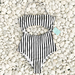 Leaves Stripe Printing Halter One-piece Swimsuit
