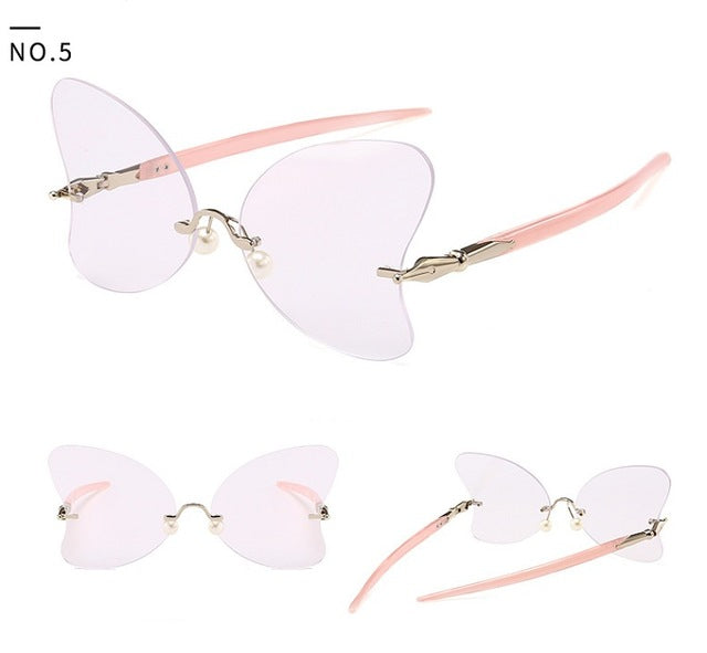 New Arrivals Women Rimless Sunglasses Butterfly Brand Designer Candy Color Sun Glasses For Women Vintage Round gafas oculos