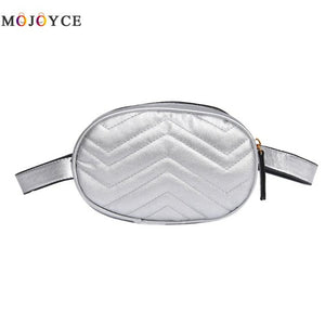 Luxury Design Women PU Leather Waist Bag Female Oval Shape One Shoulder Zipper Fanny Pack Ladies Belt Bag