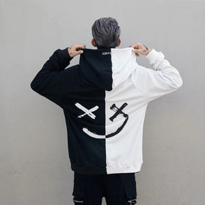 Men Hoodies Sweatshirts Smile Print Headwear Hoodie - thistylish