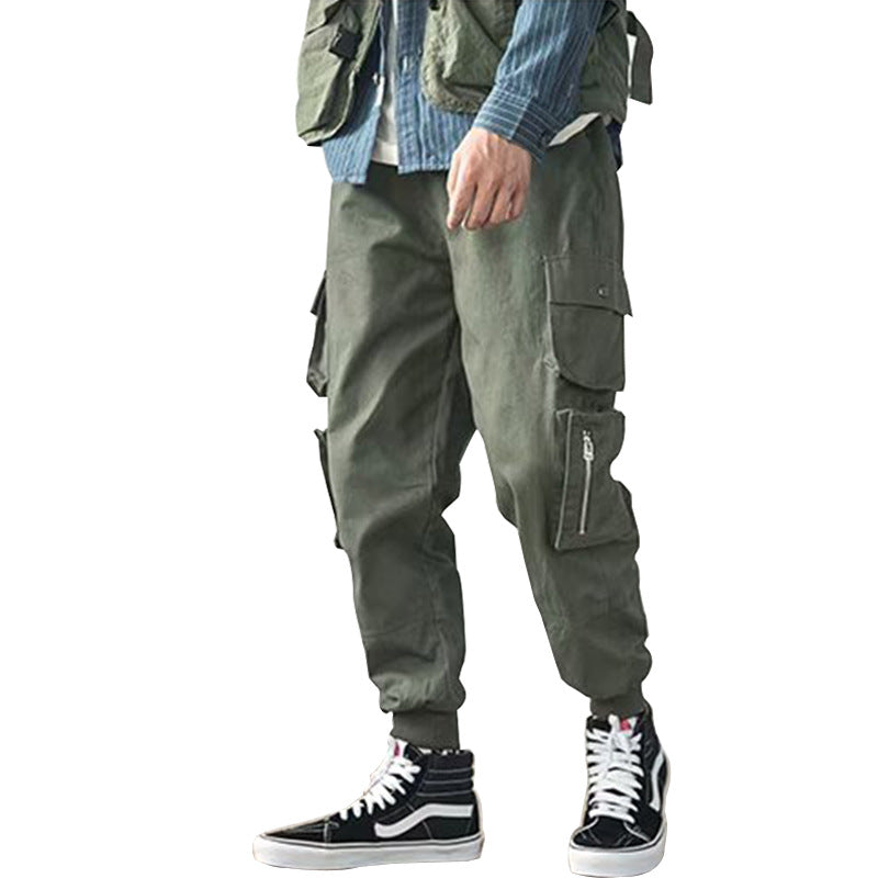 Men Causal Multi-pocket Outdoor Loose Solid Color Plus Size Cotton Cargo Pants