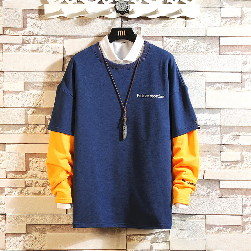 Men Hip Hop Color Block Patchwork Fleece Sweatshirts