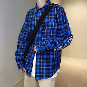 Multicolor plaid stitching loose long sleeve shirt