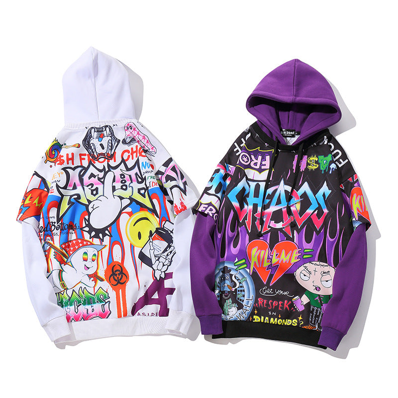 Unisex original hiphop little cute graffiti cartoon anime hoodies