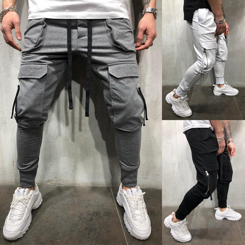 Men's Fashion Zipper Pockets Cotton Skinny Trousers