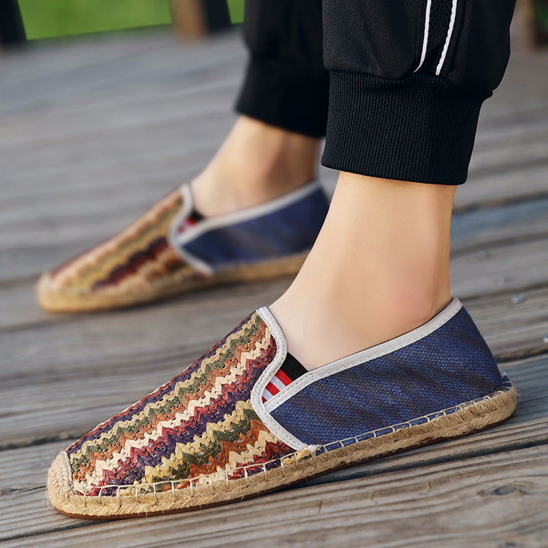 2019 summer men's shoes straw fisherman shoes