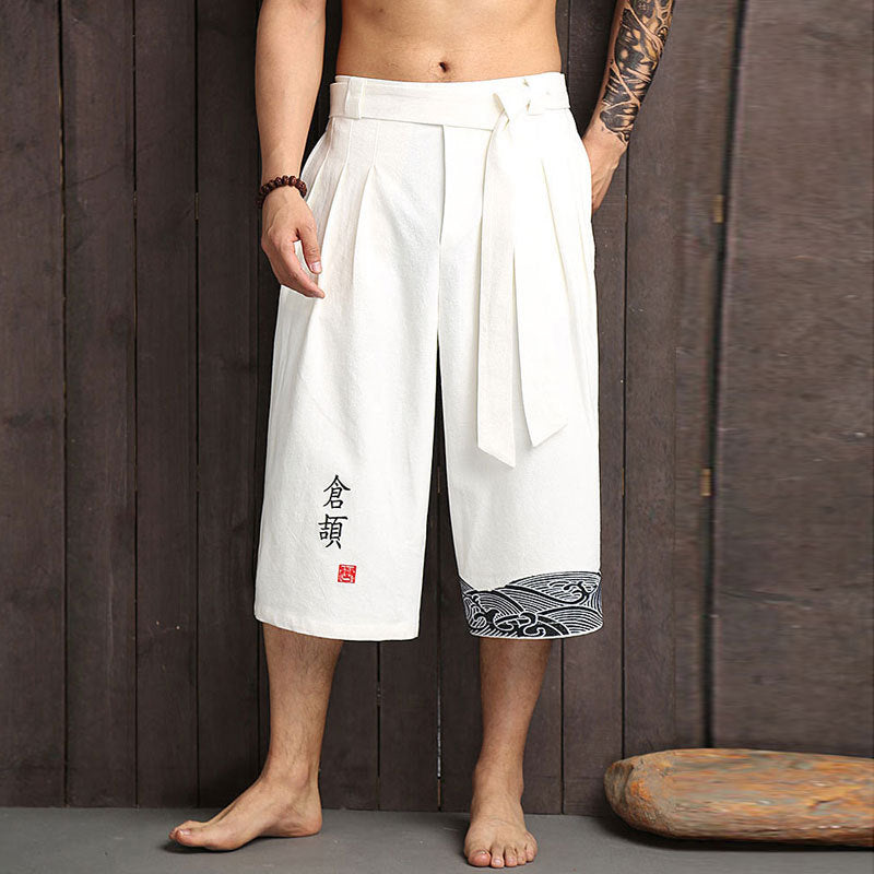 Chinese style men's wide leg pants linen cropped trousers