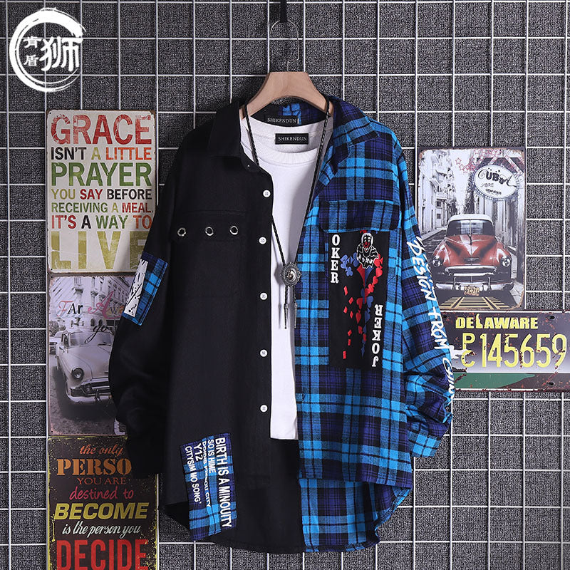Personalized print stitching tide fake two-piece cardigan coat
