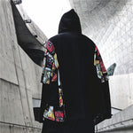 2019 NEW graffiti printing stitching street loose hooded sweater
