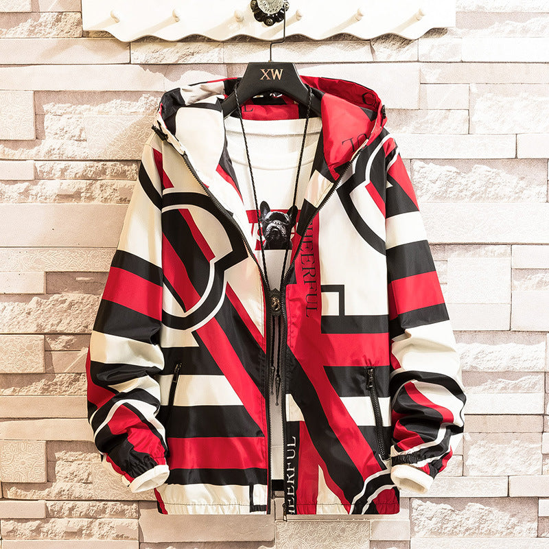Men's Fashion Color Matching Hooded Jacket Casual Dress Coat