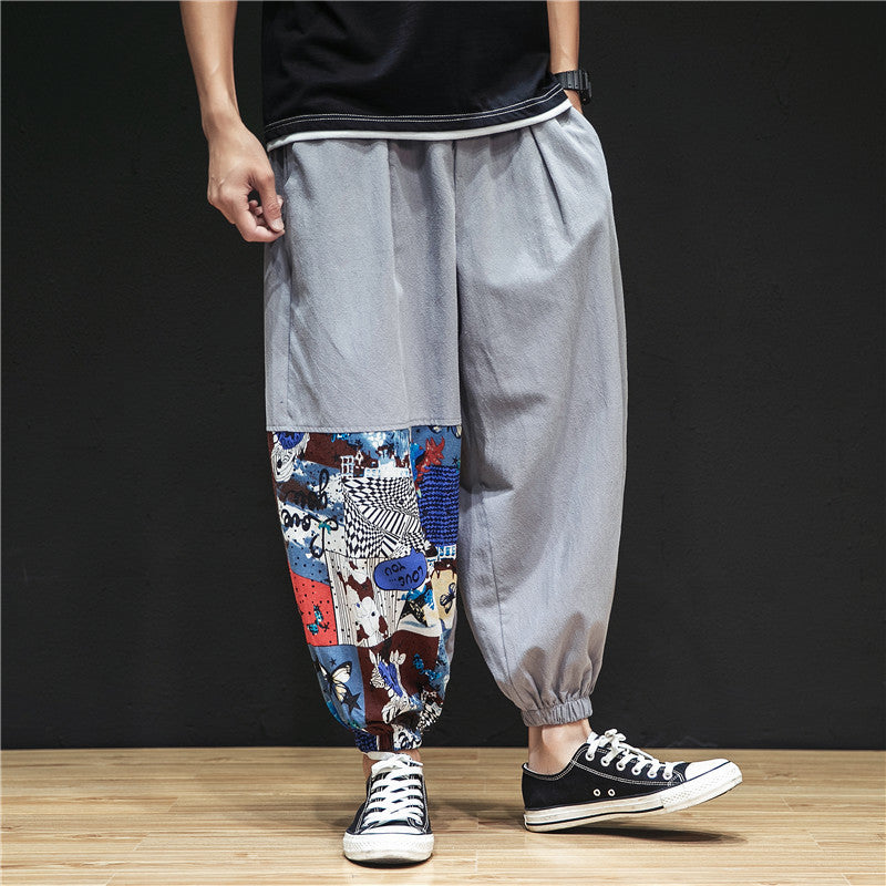 Chinese style linen stitching pants