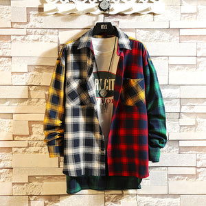 Men Loose color hip hop trend Long Sleeve  shirt