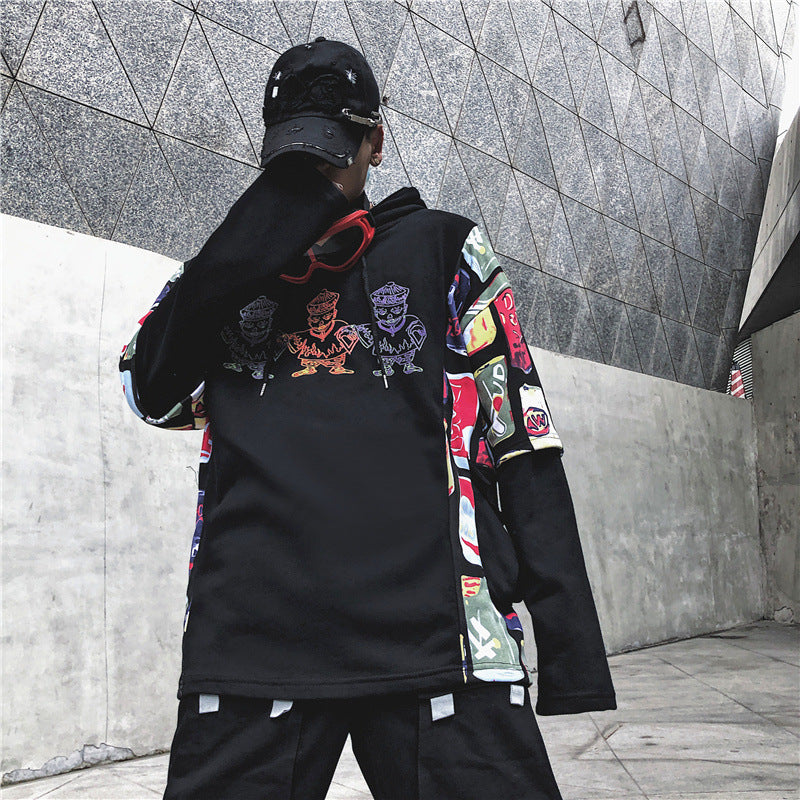 2019 NEW mn Japanese fashion brand men and women graffiti printing stitching street loose hooded sweater