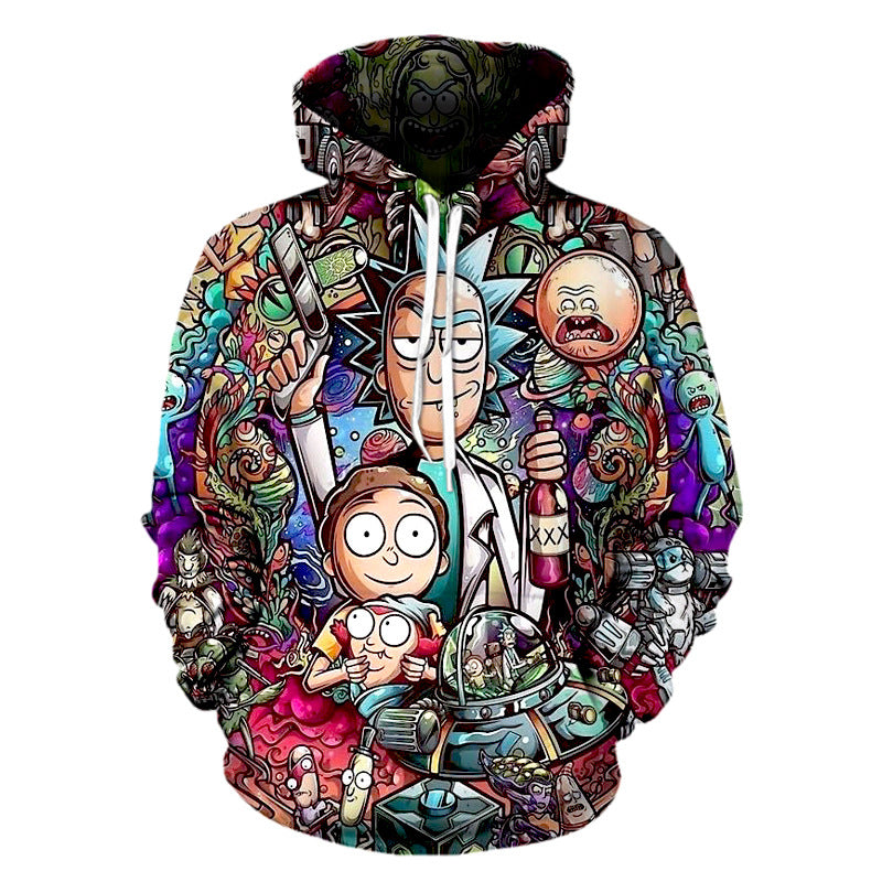 Men Funny Cartoon Cosplay 3D Print Pullover Hoodie Rick Morty Print Sweatshirts