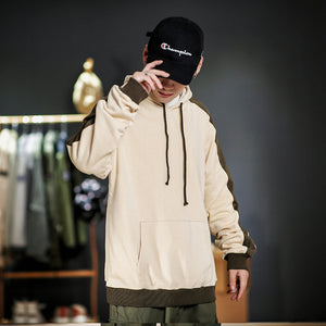 Men large size hit color hooded hoodie