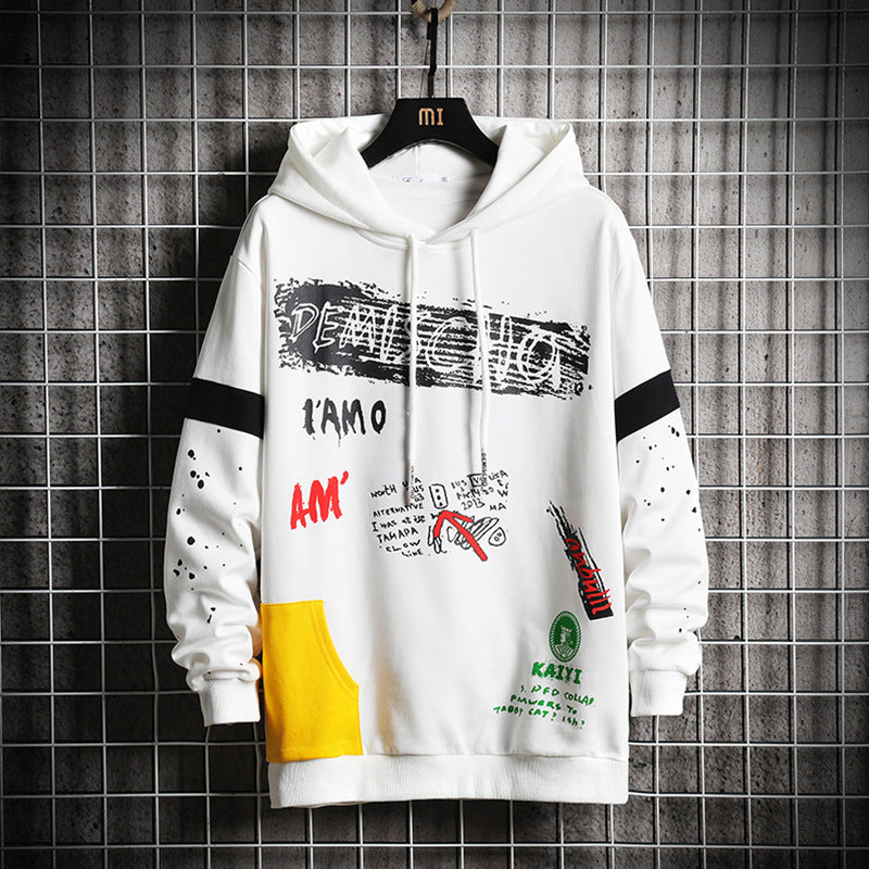 2019 plus Size Men Hip Hop Graffiti Hoodies