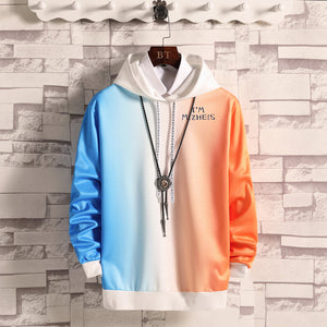 Men Contrast gradient long sleeves Hoodies