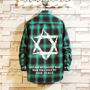 Men Hexagon star cotton plaid shirt