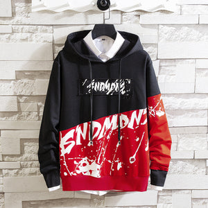 Men Letters Printed Graffiti hooded sweater