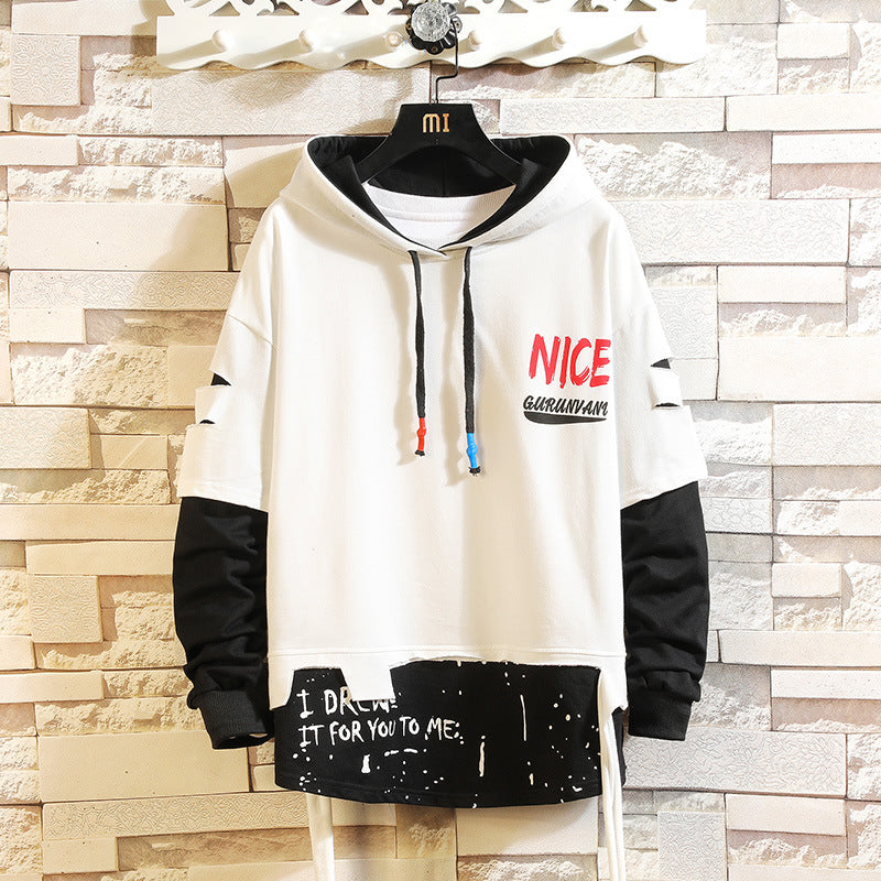 Men Printed colorblock hoodie long sleeve personality sweater