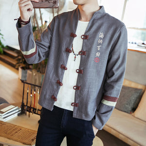 Splicing contrast color Chinese style linen jacket