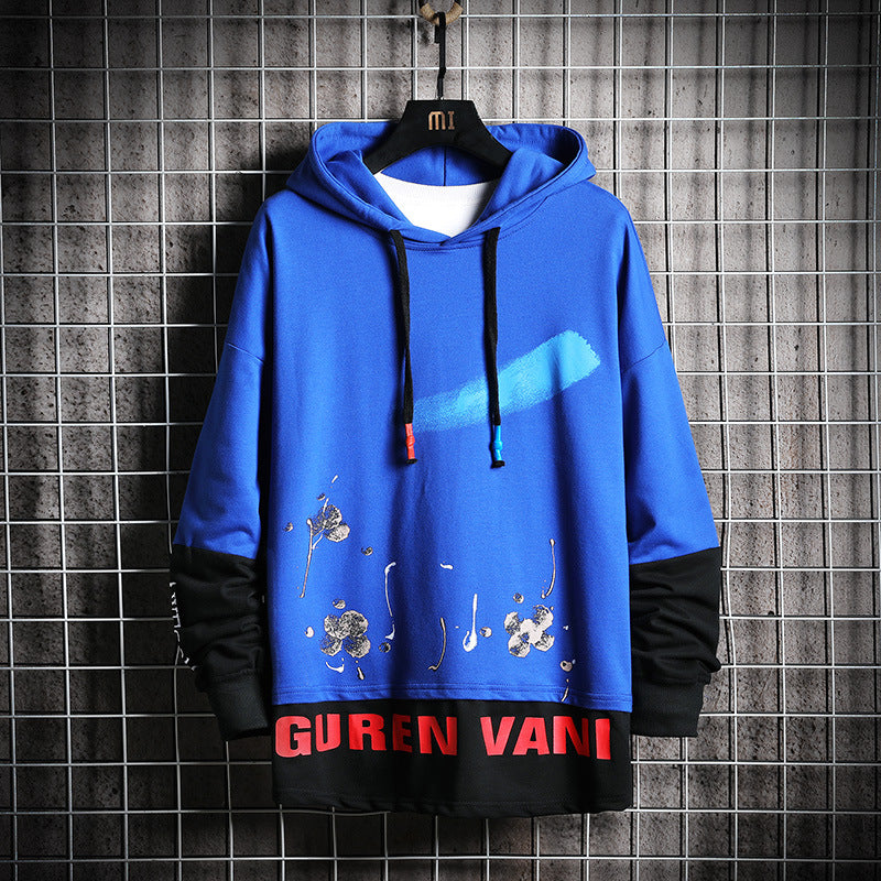2019 color matching long sleeve hooded men's sweater